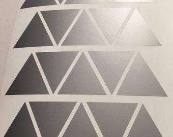 100 Silver Metallic Triangle Wall Stickers, Decoration Confetti, Wall Decals, Vinyl, Envelope, Car, Office, Home, Nursery Wallpaper, Wedding