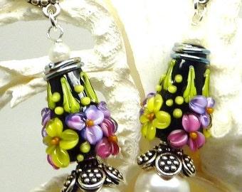 Lampwork and Pearl Earrings FLORAL