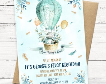 Some Bunny is One! Hot Air Balloon Watercolor First Birthday Invitation