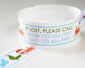 Custom Vinyl Tranportation ID Bracelets - Personalized ID Bands - #Kids #Travel #Safety #Medical