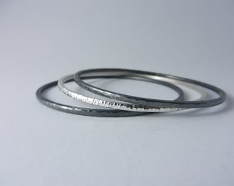 Bangle narrow blackened from 925 - sterling silver
