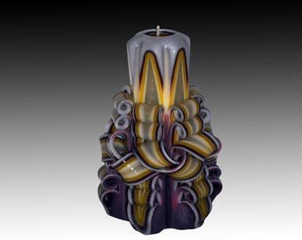 Christmas gift candle, Unique handmade gift candle, Hand Carved candles, Purple candle, 5 inch/ 12cm
