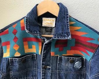 Adult Denim Vintage Native American Jean Jacket with Oregon wool fabric appliques - Size L Men's or Women's Denim Jacket Tribal Denim Jacket