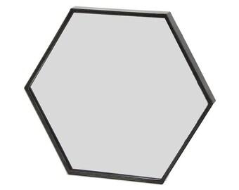 Zen - Hexagonal Wall Mirror (Black Metal Frame, W:60cm)