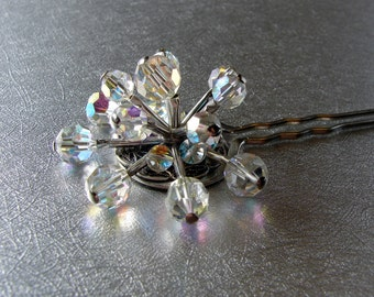 Crystal Spray Galaxy Vintage Jewelry Hairpin Constellation Hair Comb Stars Ornament Fork Cosmos Jeweled Hairpiece Wedding Formal Pageant