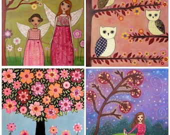 Fairies Flowers Owls Painting Art Print Set Four 5 inch by 5 Inch Prints