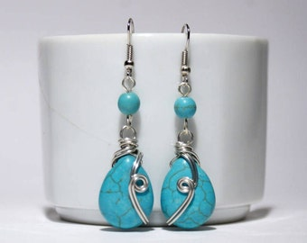 Turquoise dangle drop earring, turquoise jewelry, dangle earrings, wire wrapped jewelry handmade, stone turquoise earrings