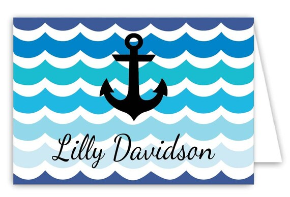 Personalized Anchor Folded Note Cards - Set of 30