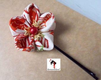 Japanese flower Tsumami kanzashi for hair, Japanese kimono crepe fabric in red and white tone.