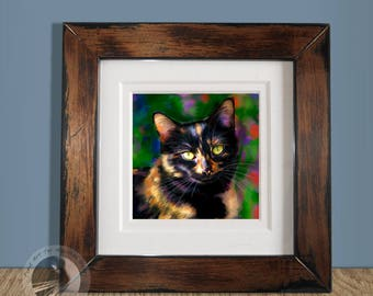 Small Framed Tortie Cat Print - Limited Edition Calico Kitty Art Print