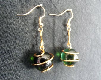 Green and gold/silver wire wrapped drop earrings