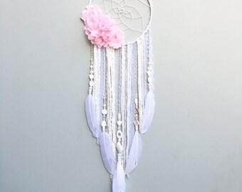 Flower Dream Catcher, Dreamcatcher - Boho Chic decor - Nursery decor - Baby Shower Gift - Kids Room - Bedroom Decor- Gifts for her