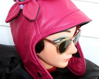 Aviator/ Motoring Hat Ladies 1920s Style in Shiny Hot Pink Leather w/ Leather Butterfly Flower