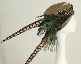 Art deco vintage feathers and french jewelry turban by Mademoiselle SoCat