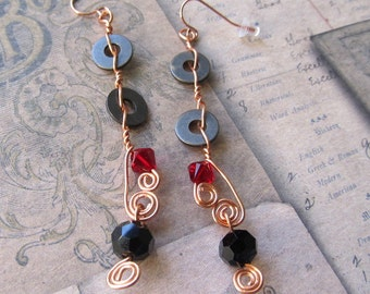 Item 7126 Red Swavorski And Gears  Copper Wire Earrings