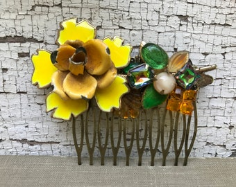 Yellow Festival Floral Collage Hair Comb OOAK