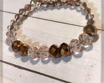Brown Beaded Memory Wire Bracelet