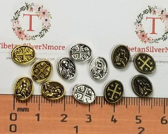 26 pcs per pack 9x6mm 3mm thickness Flat Oval Reversible Sacred Heart and Cross Beads color to choose Lead Free Pewter