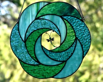 "Stained Glass Suncatcher, ""Dragonfly's Dance"", Soothing Blues & Greens, Abstract Geometric Swirl, Dragonfly Suncatcher, Glass Art, Zen"
