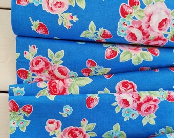 Flower Sugar Berry - Large Floral(Blue Background)- Lecien - Japan, Inc