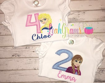 Frozen Anna or Elsa Applique Birthday Shirt