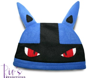 Pokemon Lucario Hat / Fleece Hat / Winter Hat / Pokemon Hat / Pokemon Fleece Hat / Video Game Characters