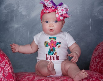 Shabby Applique Cross with Pink Flower Monogrammed Girls bodysuit or T shirt