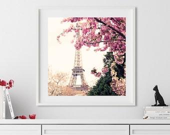 Paris wall art, extra large wall art, Paris photography, framed wall art, cherry blossom art, wall art canvas, Eiffel tower, art, print