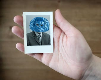 Blue Collage Art On Retro Man Photo Booth Portrait Photography Altered With Posca Pens, Original Tiny Vintage Art Gift Idea For Art Lovers