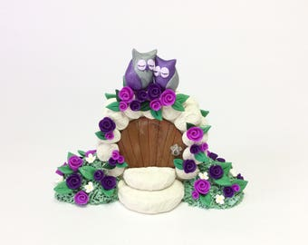 Owl wedding cake topper in purple and green handmade from polymer clay