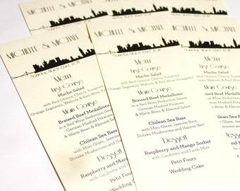 New York City Menu Cards Skyline Wedding Decor Custom NYC Other Cities Available Handmade Bridal