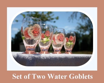 Set 2 Water Goblets, 9oz glass, hand painted glass, Juice glasses, Peach tinted glass, hand painted roses, hand painted flowers, Item #PWG2