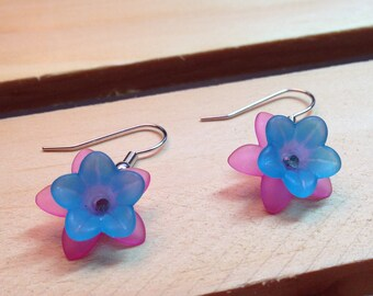 Bright Blue & Pink Flower Earrings