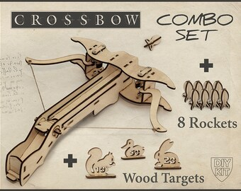 Mens Christmas Gift, Wood Crossbow DIY Kit With targets. Gift For Him, Father Gift, Husband Gift. DIY Crossbow, Gift For men, Crossbow Gift