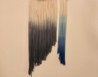 Found branch with 100% wool dip dyed in greys and evening blues