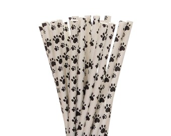 Paper Straws, Paw Print Paper Straws, Puppy Adoption Party Supplies, Dog Birthday Party Paper Straws, Black and White Paw Print Paper Straws