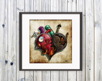 Clockwork Heart, Heart Print, Steampunk Heart, Mechanical Heart, Steampunk Drawing, Heart Drawing, Steampunk Wedding, Goth Heart, Love Art