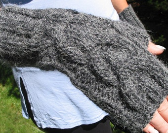 Grey Fingerless Texting Gloves with Cable, Alpaca Blend, CHARCOAL HEATHER