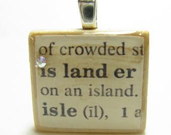 Islander - vintage dictionary Scrabble tile with Swarovski crystal