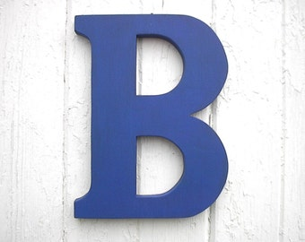 "Wooden Wall Letters ""B"" 12"" Modern Too Blue Finish, Big letters Shabby chic wedding gift Nursery Decor Shower gift"
