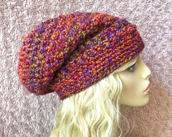 Pink and Orange Slouchy Crochet Hat