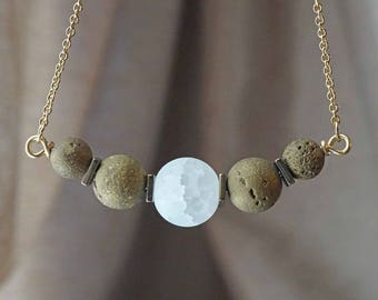 White Gold Druzy Aromatherapy Necklace Essential Oil Diffuser Necklace