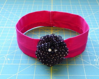 B&W Polka Dot Hot Pink Flower Dog Collar Cover - Jeweled Polka Dot Flower Dog Collar Cover, Jeweled Polka Dot Flower Cat Collar Cover