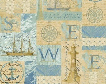 Tall Ships - Tan and Blue Nautical Compas Ship and Sailboat fabric - by the half yard - Windham Fabrics - 100% cotton