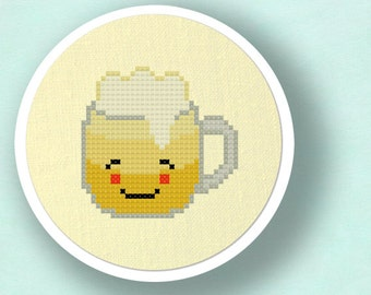 Refreshing Beer Cross Stitch Pattern. Modern Simple Cute Counted Cross Stitch PDF Pattern. Instant Download