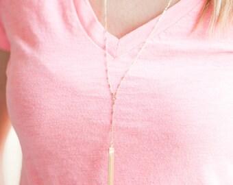 Long Gold Tassel Necklace // Gold Filled Tassel Necklace // Long Statement Necklace // The PARKER Necklace