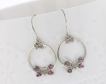 Sterling Silver Butterfly Lilac Crystal Dangle Earrings, Swarovski Crystal, Sterling Silver, Dangle Earring. Dainty, Butterfly, Purple,