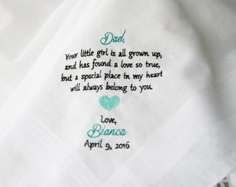 Bride To Dad Gift- Embroidered Personalised Wedding Handkerchief