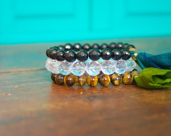 Gemstone Mala Bracelet Stack- Black Tourmaline Tiger Eye Crystal Quartz Womens Meditation Set Yoga Tassel Jewelry Prayer Beads Spiritual