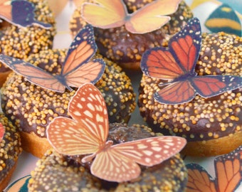Edible ORANGE Butterflies 3D Wafer Rice Paper Fantasy Butterfly Golden Amber Woodland Wedding Cake Decorations Rustic Cupcake Toppers RTD